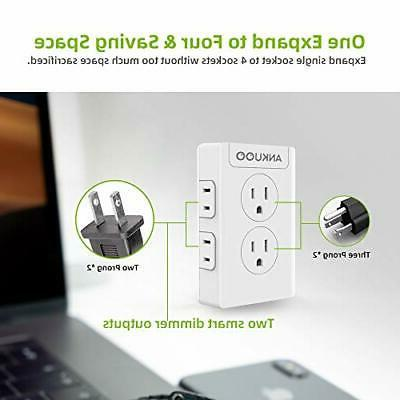 Smart Switch Dimmer,4 Multi Outlet Wall Charger
